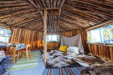 SWE4155 Arctic Circle, Lapland, Scandinavia, Sweden, Jokkmokk, an ethnic Sami house