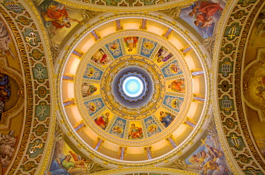 MLT0502 Maltese Islands, Malta, Southern Europe. The painted dome of St. Lawrence Parish Church of the village of St. Lawrence (San Lawrenz) in Gozo