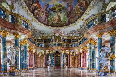 DE05460 Germany, Baden-Wurttemburg, Wiblingen, Kloster Wiblingen Abbey, 18th century monastery, rococo-style library built in 1760