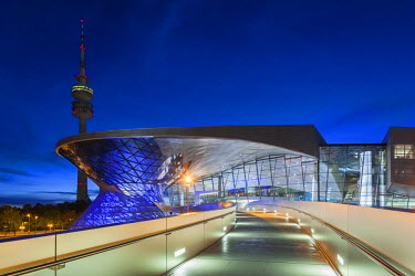 DE05500 Germany, Bavaria, Munich, BMW Welt company showroom and Olympia Tower, dusk