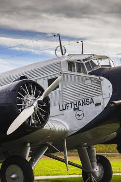 DE05511 Germany, Bavaria, Munich, Munich International Airport, 1930s-era, Lufthansa Airlines Junkers JU-52 Airliner, Tante Ju, Auntie Ju