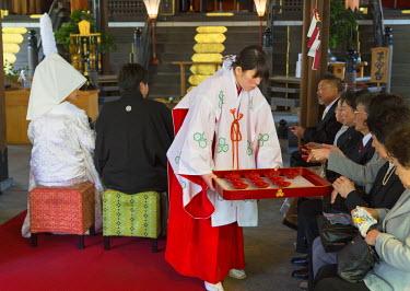 JAP0959AW Traditional wedding ceremony in Kushida Shrine, Fukuoka, Kyushu, Japan