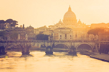 ITA4391AW Rome, Lazio, Italy. St Angel bridge at sunset.