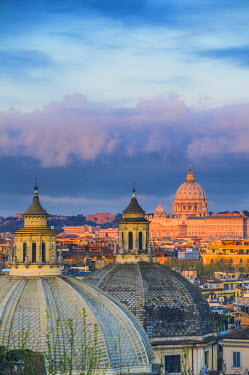 ITA4369AW Rome, Lazio, Italy. St Peter's Basilica and other cupolas.