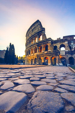ITA4383AW Rome, Lazio, Italy. Colosseum and Via Sacra at sunrise