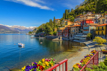 ITA4458AW Scenic springtime view of Varenna with snowy Alps in the background, Lake Como, Lombardy, Italy