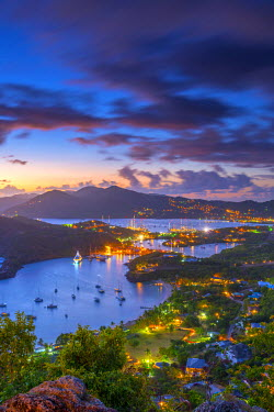AB01108 Caribbean, Antigua, English Harbour from Shirley Heights, Sunset