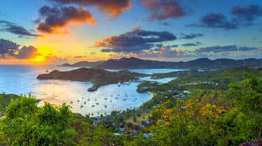 AB01110 Caribbean, Antigua, English Harbour from Shirley Heights, Sunset