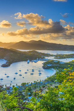 AB01111 Caribbean, Antigua, English Harbour from Shirley Heights, Sunset