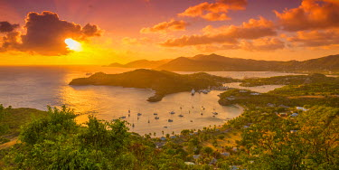 AB01115 Caribbean, Antigua, English Harbour from Shirley Heights, Sunset
