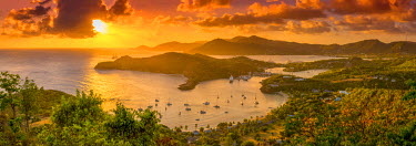 AB01116 Caribbean, Antigua, English Harbour from Shirley Heights, Sunset