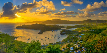 AB01117 Caribbean, Antigua, English Harbour from Shirley Heights, Sunset