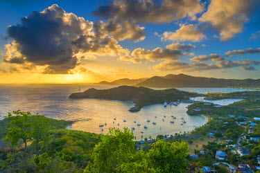 AB01118 Caribbean, Antigua, English Harbour from Shirley Heights, Sunset