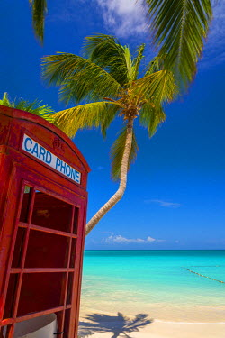 AB01128 Caribbean, Antigua, Dickinson Bay, Dickinson Bay Beach, Red British Telephone Box