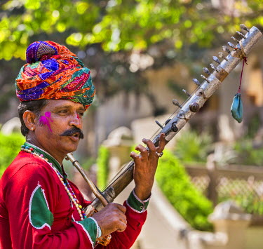 IND7884 India, Rajasthan, Jaipur.  A Rajasthani musician in traditional attire plays a  local string instrument called rawan hatha.