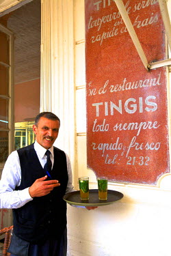 MC03202 Waiter Serving Mint Tea in Traditional Cafe, Tangier, Morocco, North Africa