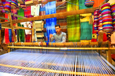 MC03207 Man Weaving to Produce Traditional Scarves, Tangier, Morocco, North Africa