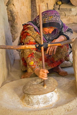 OMA2578 Oman, Ad Dakhiliyah Governorate, Al Hamra. An Omani woman grinds flour using a simple hand-operated grinding wheel in Bait al Safah which is a living Museum in the almost abandoned old mud-brick villa...