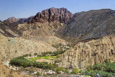 OMA2623 Oman, Ad Dakhiliyah Governorate, Wadi Bani Awf.  A village with irrigated fields in Wadi Bani Awf is surrounded by outstanding mountainous scenery in the Western Hajar Mountains.