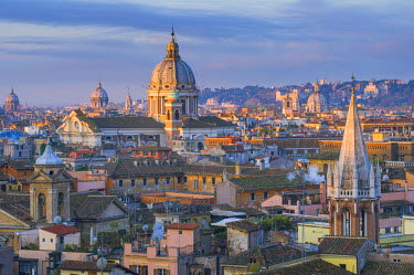ITA4480AW Rome, Lazio, Italy. Basilicas and roofs seen from Pincio hill.