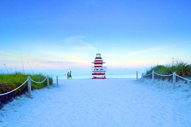US11731 Florida, Miami Beach, South Beach, Lighthouse Lifeguard Tower, Jetty Beach Tower