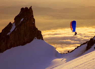 AR3080000023 Backcountry adventurer gets his wings flying the Nano  on the south side of Mt Hood. Oregon, USA
