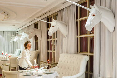 HMS1821557 Argentina, Buenos Aires, Puerto Madero district, luxury hotel Faena opened in 2004 and decorated by the French designer Philippe Starck, restaurant El Bistro
