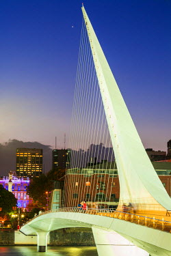 HMS1821671 Argentina, Buenos Aires, Puerto Madero, old harbor area transformed into a new residential and office in the 2000s, Puente de la Mujer (2001) by Spanish architect Santiago Calatrava