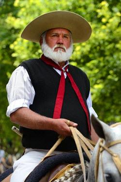 HMS1389860 Argentina, Buenos Aires Province, San Antonio de Areco, Tradition Day festival (Dia de Tradicion), gaucho on horseback in traditional dress during the parade