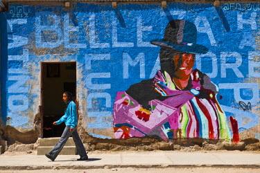 HMS0908338 Bolivia, Potosi Department, Uyuni (3653 m), mural
