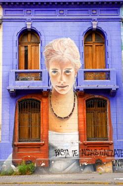 HMS0246697 Chile, Santiago de Chile, frescoes of calle Jimenez