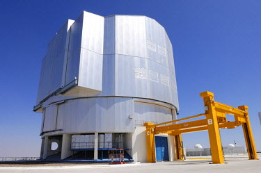 HMS0631619 Chile, Antofagasta region, Atacama Desert, the Paranal Observatory, ESO European Southern Observatory, Giant Telescope VLT from the outside with its portico orange used for removal of the primary mirr...