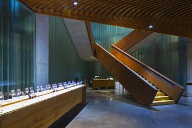 SPA6495AW Spain, Burgos, Gumiel de Izan. The Tasting Room at Bodegas Portia, a modern Ribera Del Duero winery designed by Norman Foster architects.