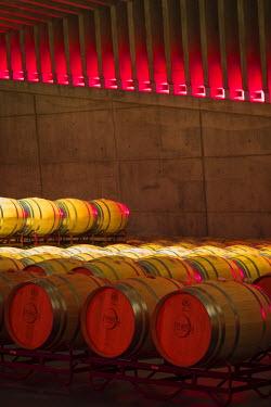 SPA6497AW Spain, Burgos, Gumiel de Izan. The Barrel Room in Bodegas Portia, a modern Ribera Del Duero winery designed by Norman Foster architects.