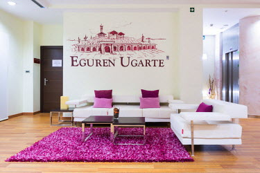 Spain, Alava, Laguardia. Reception room at Hotel Eguren Ugarte which is adjacent to the winery bearing the same name.
