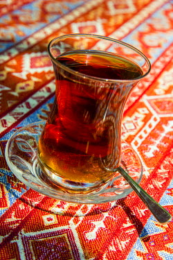 TUR0346AW Turkish tea served in the typical tulip shaped glass