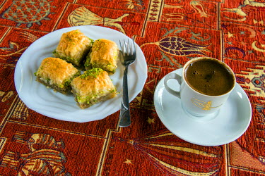 TUR0392AW Plate with traditional baklava Turkish sweet and cup of Turkish coffee