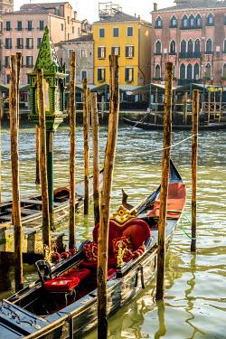 ITA4593 Gondola on a canal in Venice, Italy
