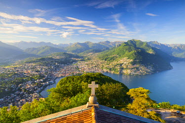 CH04117 Elevated view over Lugano from Monte San Salvatore, Lake Lugano, Ticino, Switzerland