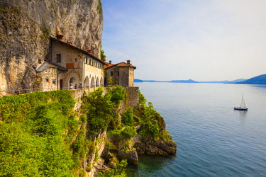 IT04401 Picturesque Santa Caterina del Sasso Hermitage, Lake Maggiore, Piedmont, Italy