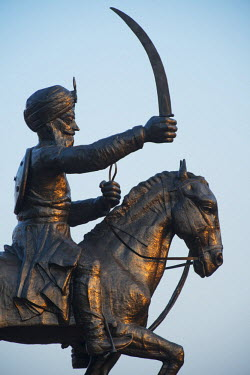 Asia, India, Punjab, Amritsar, India Pakistani border, Border monument of sikh warrior