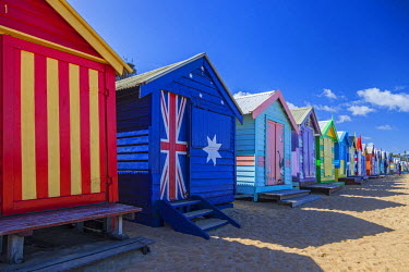 AUS2033 The colourful Brighton Bathing Boxes located on Middle Brighton Beach, Brighton, Melbourne, Victoria, Australia.