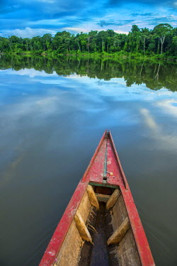 South America, Peru, Amazonia, Manu National Park, UNESCO World Heritage, dugout boat on old oxbow lake
