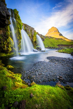 ICE3479AW Kirkjufell Mountain, Snaefellsnes peninsula, Iceland. Landscape with waterfalls, long exposure on a sunny day