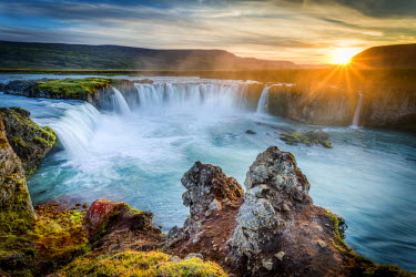ICE3490AW Godafoss, Myvatn, Iceland. the waterfall of the Gods at sunset