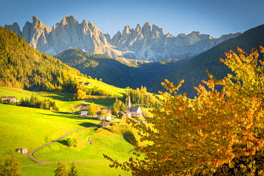 ITA4770AW South Tyrol, Italy, Dolomites Alps. Val di Funes and Santa Maddalena church with Odle Mountains in background