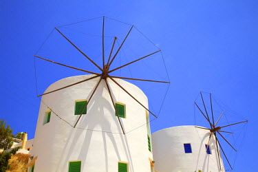 GR10058 Windmills Converted For Accommodation, Leros, Dodecanese, Greek Islands, Greece, Europe