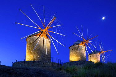 GR10072 Illuminated Windmills Of Chora, Patmos, Dodecanese, Greek Islands, Greece, Europe