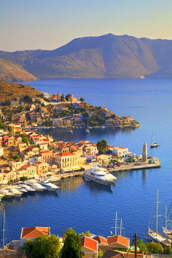 Boats In Symi Harbour From Elevated Angle, Symi, Dodecanese, Greek Islands, Greece, Europe