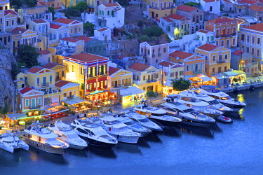 GR10153 Boats In Symi Harbour From Elevated Angle At Dusk, Symi, Dodecanese, Greek Islands, Greece, Europe